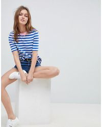 ONLY - Anabella Striped Embroidered T-shirt - Lyst