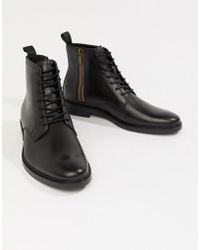 ALDO - Alenia Lace Up Boots In Black Leather - Lyst