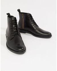 b6c60a57d2e ALDO - Botas de cuero negro con cordones Alenia de - Lyst