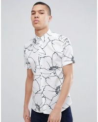Ted Baker - Slim Short Sleeve Shirt In White Floral Print - Lyst