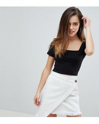 Missguided - Square Neck Ribbed Crop Top - Lyst