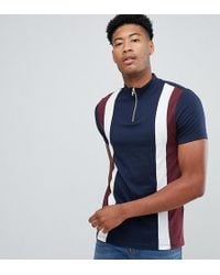 ASOS - Tall T-shirt With Turtleneck And Vertical Cut And Sew Panels In Navy - Lyst