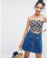 ASOS DESIGN - Shirred Bandeau Crop Top In Floral Print - Lyst