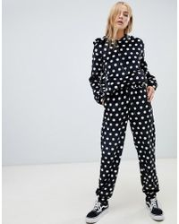 Daisy Street - Relaxed joggers In Faux Fur Polka Dot Two-piece - Lyst