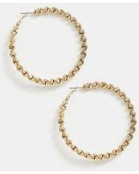 River Island - Textured Hoop Earrings In Gold - Lyst