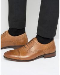 Red Tape - Lace Up Brogue Smart Shoes In Tan - Lyst