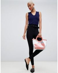 River Island - Ponte High Waist Belted Trousers In Black - Lyst