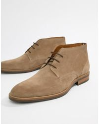 Tommy Hilfiger - Essential Suede Lace Up Boot In Taupe Grey - Lyst