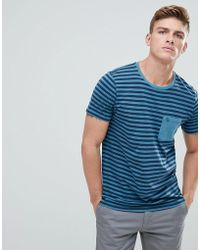 Abercrombie & Fitch | Garment Dyed Stripe Pocket T-shirt In Blue | Lyst