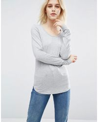 ASOS - T-shirt With Long Sleeve And Scoop Neck - Lyst