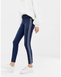 ONLY - Pearl Side Panel Skinny Jeans - Lyst