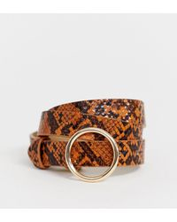 Pieces - Circle Buckle Snake Print Brown Belt - Lyst