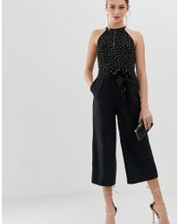 Oasis - Jumpsuit With Glitter Dots In Black - Lyst