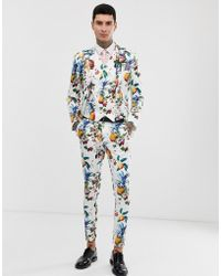 ASOS - Wedding Super Skinny Suit Trousers With All Over Fruit Floral Print - Lyst