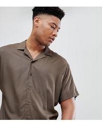 ASOS DESIGN - Tall Oversized Viscose Batwing Sleeve Shirt In Khaki - Lyst