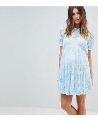 ASOS - Asos Design Maternity Lace Swing Mini Dress With Collar - Lyst