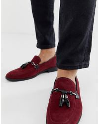 ASOS - Loafers In Burgundy Faux Suede With Tassel - Lyst