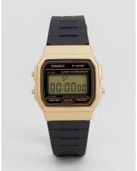 G-Shock - F91wm-9a Digital Silicone Strap Watch In Black/gold - Lyst