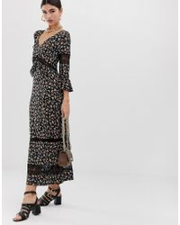 711390e9c5b ASOS - City Maxi Tea Dress With Lace Inserts In Ditsy Print - Lyst