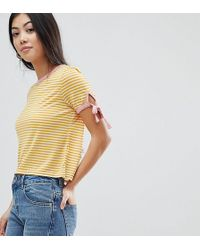 Miss Selfridge - Tie Sleeve Contrast Tip Stripe T-shirt - Lyst