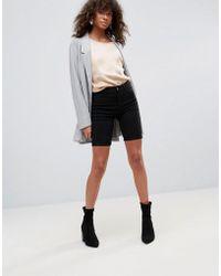 Pieces - Skin Long Denim Shorts - Lyst