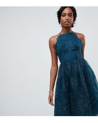 Chi Chi London - High Neck Scalloped Lace Dress In Green - Lyst