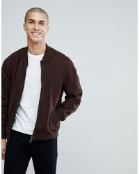 Barneys Originals - Suede Bomber Jacket - Lyst
