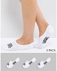 Vans - 3 Pack White No Show Socks - Lyst