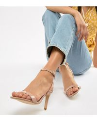 New Look - Wide Fit Square Toe Heeled Sandal - Lyst