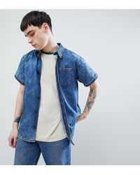 60ca5b6999e Reclaimed (vintage) - Inspired Denim Acid Wash Shirt With Short Sleeves -  Lyst