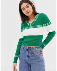 ASOS - V-neck Jumper With 70's Tipping - Lyst