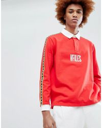 VFiles - Logo Rugby Shirt In Red With Taping - Lyst