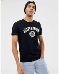 Abercrombie & Fitch - Chest Applique Logo T-shirt In Black - Lyst