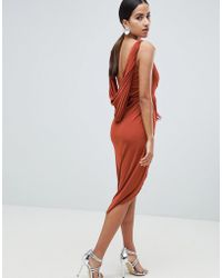 ASOS - Design Slinky Drape Back Lace Insert Midi Dress - Lyst