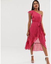 Talulah - Vestido midi a rayas color caramelo de hombro asimtrico de - Lyst