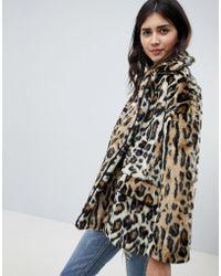 Free People - Faux Fur Leopard Jacket - Lyst