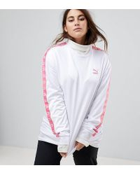 PUMA - Exclusive To Asos Plus Football Jersey In White With Pink Taping - Lyst