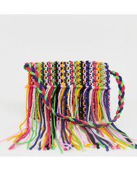 Glamorous Rainbow Fringe Woven Shoulder Bag