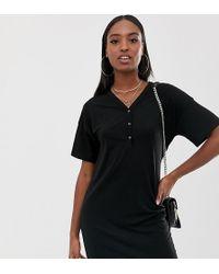 ASOS - Asos Design Tall Popper Front T-shirt Dress In Rib - Lyst