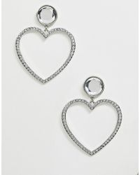 ASOS - Earrings In Heart Design With Crystals In Silver Tone - Lyst