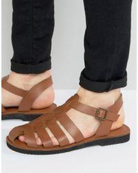 KG by Kurt Geiger - Kg By Kurt Geiger Strap Sandals In Tan Leather - Lyst
