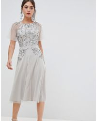 Frock and Frill - Frock & Frill Short Sleeve Midi Dress With Embellished Detail - Lyst