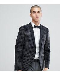 Heart & Dagger - Skinny Flocked Wool Mix Tuxedo Blazer - Lyst