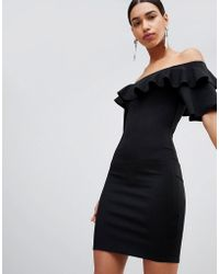 8143c7af2e35 Fashion Union - Bodycon Off Shoulder Dress With Ruffles In Crinkle - Lyst