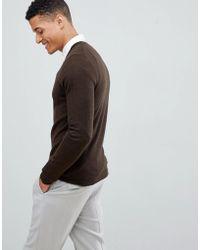 0ef1a04d Lyst - ASOS Merino Wool Crew Neck Jumper In Brown in Brown for Men