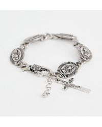 ASOS - Medallion Bracelet With Cross Design In Burnished Silver Tone - Lyst
