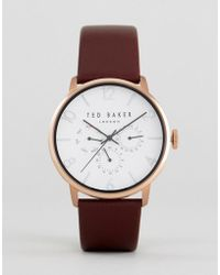 Ted Baker - James Chronograph Leather Watch In Brown - Lyst