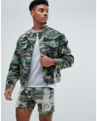 SIKSILK - Collarless Muscle Denim Jacket In Camo With Distressing - Lyst