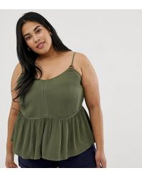 0dd5821f22a ASOS - Asos Design Curve Crinkle Cami With Lace Inserts And Ring Detail Sun  Top -