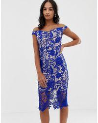 Missguided - Lace Bardot Midi Dress - Lyst